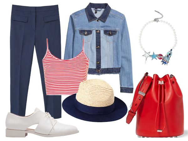 Джинсовая куртка, H&M; брюки, Mango; топ, Topshop; украшение, шляпа, все Uterqüe; ботинки, Stradivarius; сумка Alexander Wang