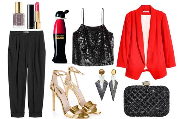 Жакет, топ, брюки, H&M; босоножки, Topshop; клатч и серьги, johnlewis.com; парфюм, Love Moschino помада, Chanel; лак для ногтей, L`Oreal Paris