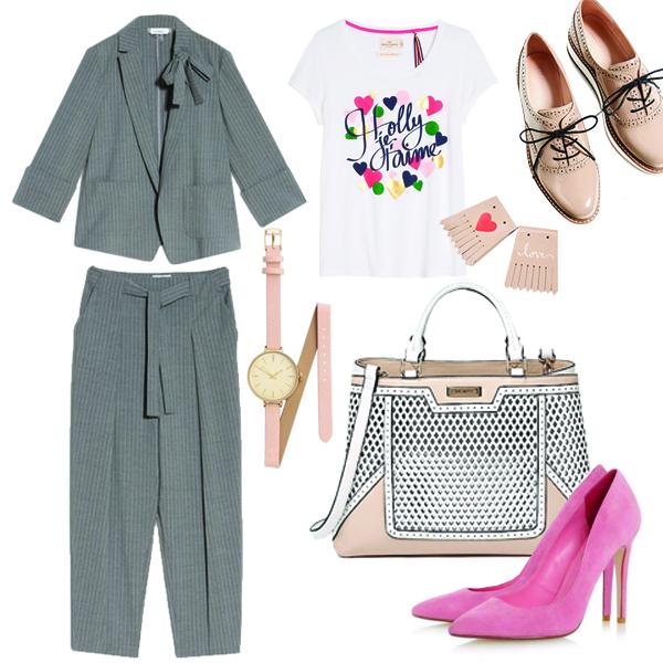 Брючный костюм, Max&Co; футболка, Lindex; броги на платформе, Zara; лодочки Dune London; часы, H&M; сумка, River Island