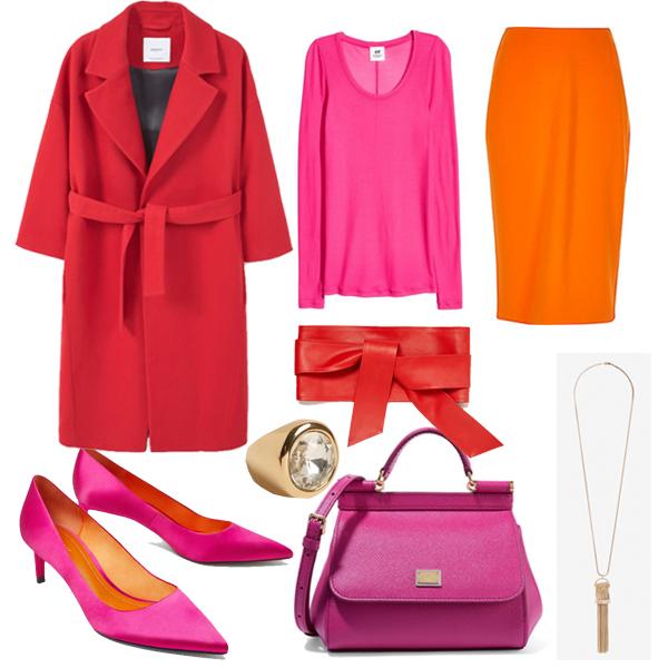 Пальто, Mango; топ, H&M; юбка, River Island; туфли, пояс, все Zara; сумка, Dolce & Gabbana; аксессуары, Uterqüe