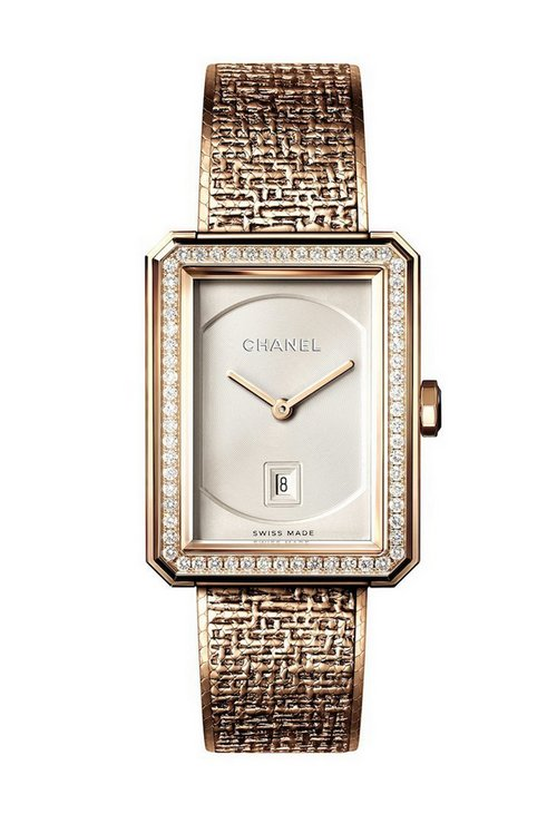 Chanel Boy-Friend Tweed Beige Gold 1