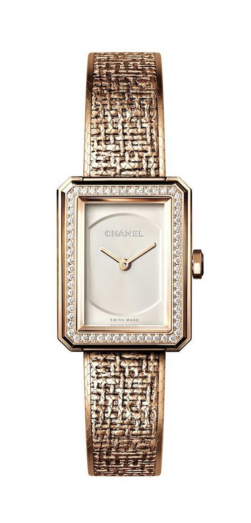 Chanel Boy-Friend Tweed Beige Gold 2