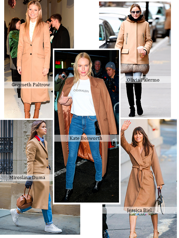 Celebrities in Camel Coats