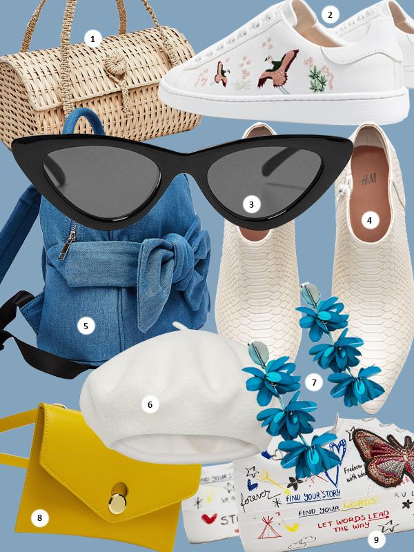1. Плетеная сумка, €29.95 3.Солнцезашитные очки, €15.95; 8. Поясная сумка, €15.95; 9. Кеды, €39.95, - все Zara2. Кеды Stradivarius, €29.99 4. Белые ботильоны, H&M, €39.99 5. Рюкзак, Bershka, €19.99 6. Берет, Lindex, €14.99 7. Серьги, Uterqüe, €35