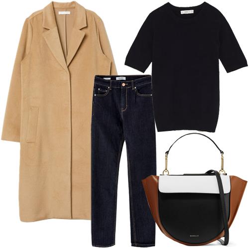Пальто, H&M, €49.99; джинсы, Pull&Bear, €25.99; свитер с короткими рукавами, Zara,€17/95; сумка, Wandler, €665