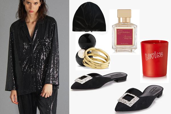 Жакет. брюки, бархатный тюрбан, обувь, все - Zara; парфюм, Maison Francis Kurkdjian; свеча, Bella Freud Parfum; кольцо, Ippolita