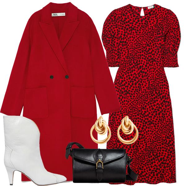 Пальто, Zara, €129; платья, RIXO, €29; казаки, Isabel Marant, €720; сумка, Massimo Dutti, €99.95; €серьги, Uterqüe, €35